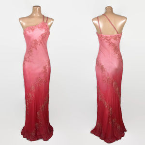 VINTAGE 90s does 30s Scala Beaded Ombre Silk Gown